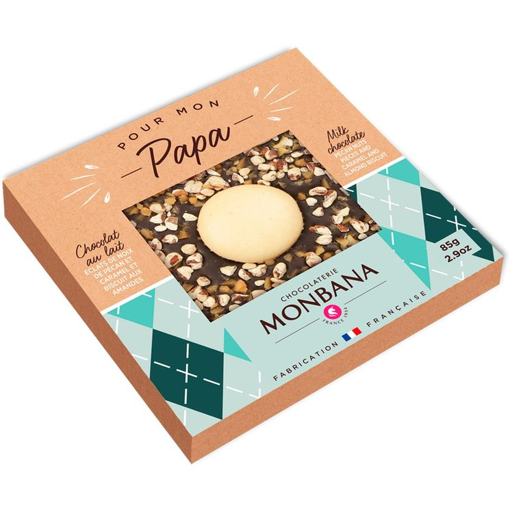 Tablette de chocolat noir aux éclats de caramel, noix de pécan et biscuits aux amandes 85g - Monbana