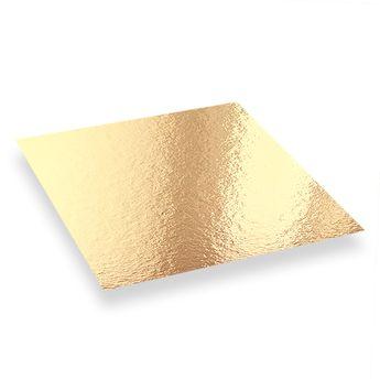 Achat en ligne 5 supports à gâteaux carrés dorés et noirs 20 x 20 cm - Patisdecor