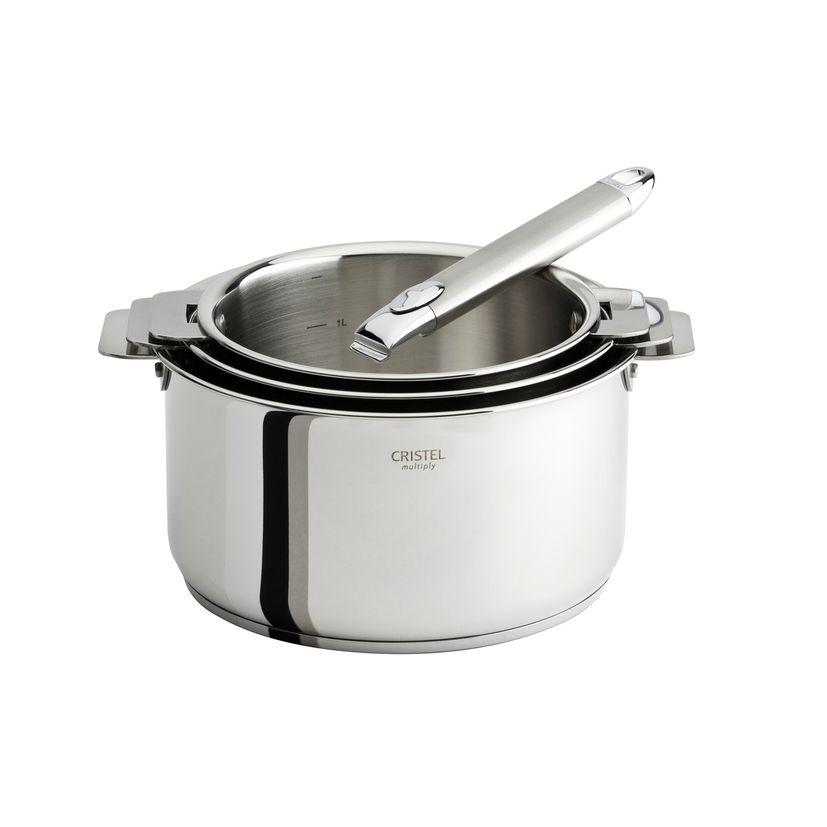 Série 3 casseroles inox amovibles 16 à 20 cm Casteline + poignee - Cristel