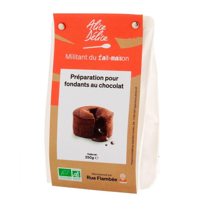 Préparation fondant au chocolat bio 250gr sans gluten  - Alice Délice