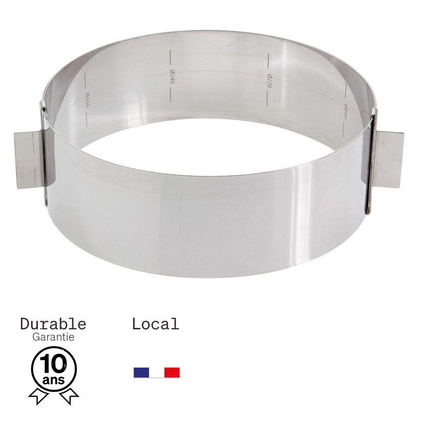 Cercle à pâtisserie extensible en inox de 16 à 28 cm, de 6 à 14 parts, hauteur 6 cm - Alice Délice