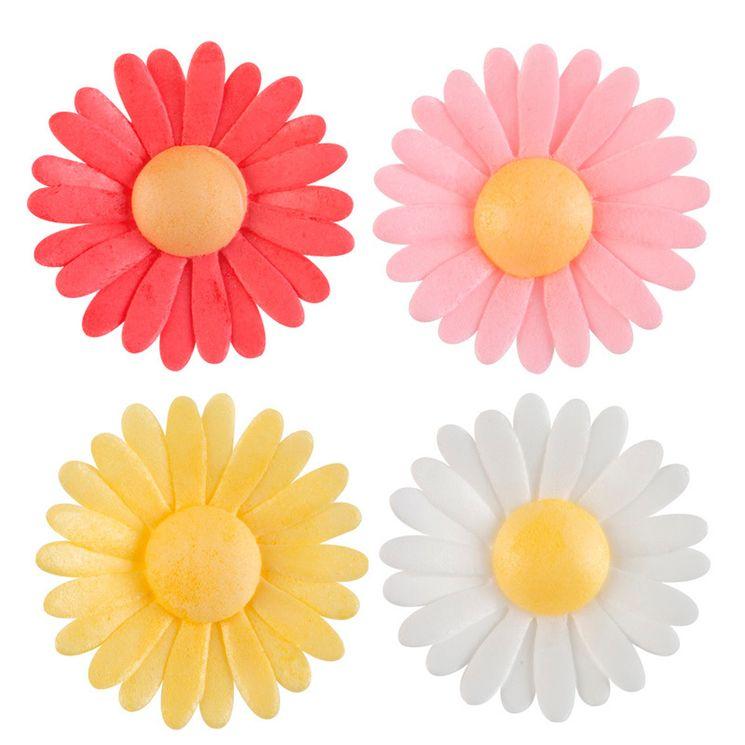 Décor en azyme : 15 marguerites blanches, jaunes, et roses 4.5 cm
