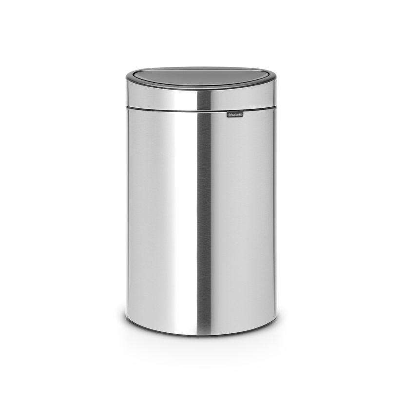 Poubelle Touch bin avec fond plat 40L fingerproof anti traces - Brabantia