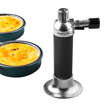 Achat en ligne Coffret crèmes brûlées : 1 chalumeau et 4 ramequins en argile noir mat - Mastrad