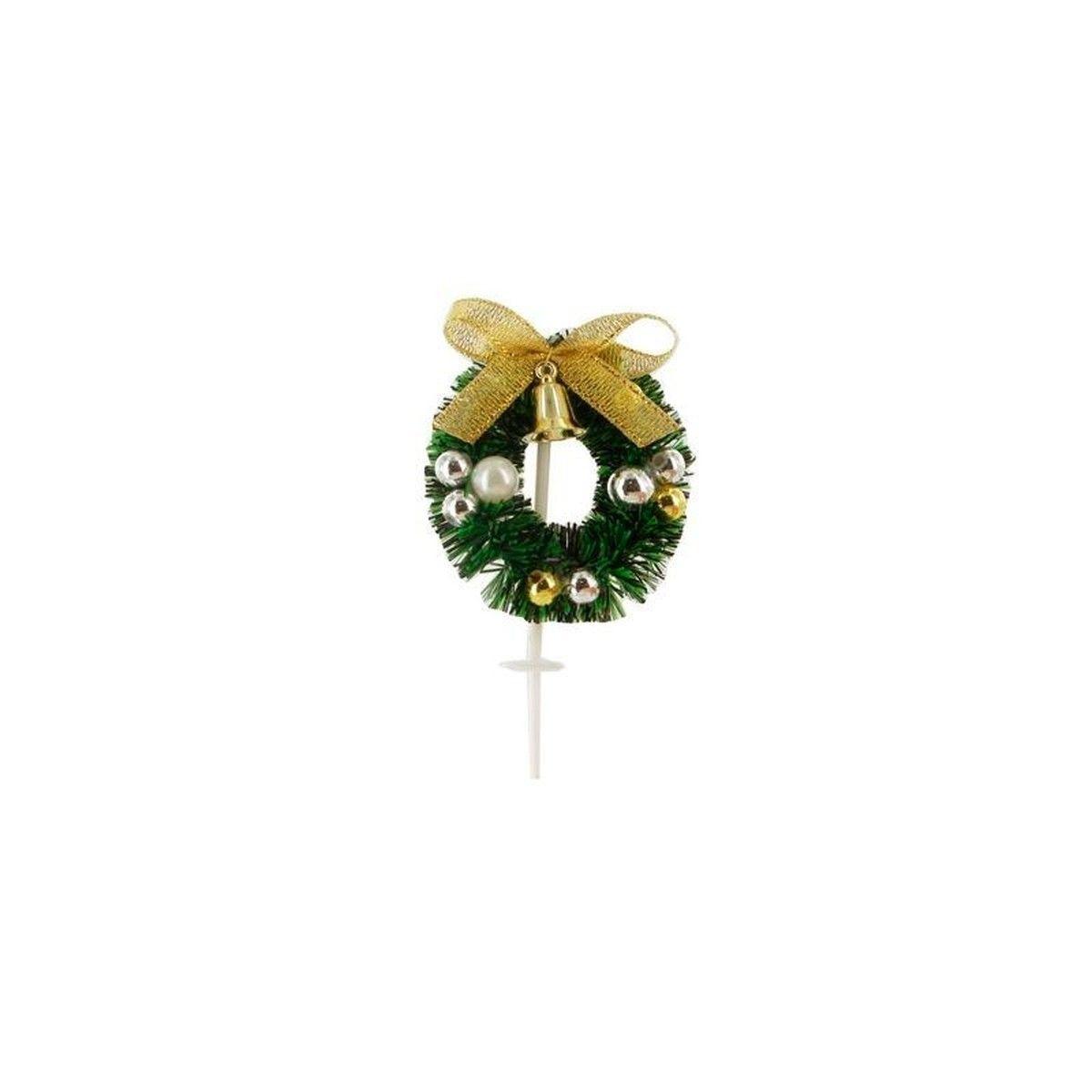 Décor de bûche et gâteau : couronne de Noël dorée sur piques 6 x 8 cm - Patisdecor