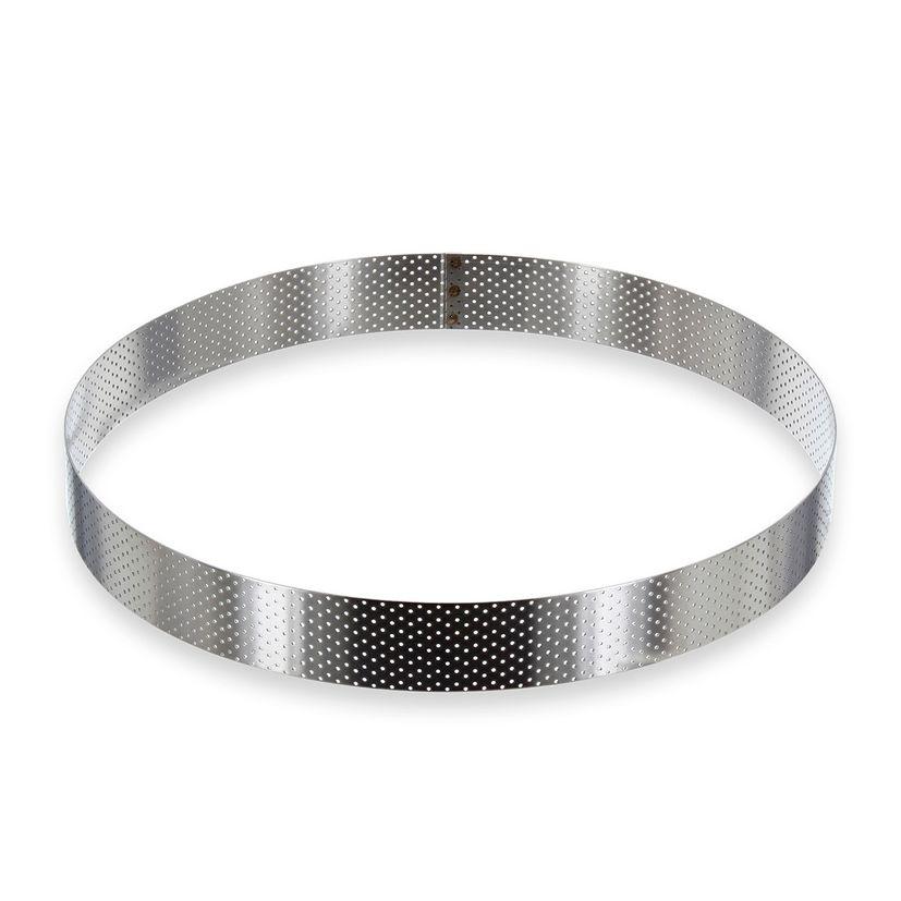 Cercle à tarte haut en inox perforé 28,5 x 3,5 cm - De Buyer