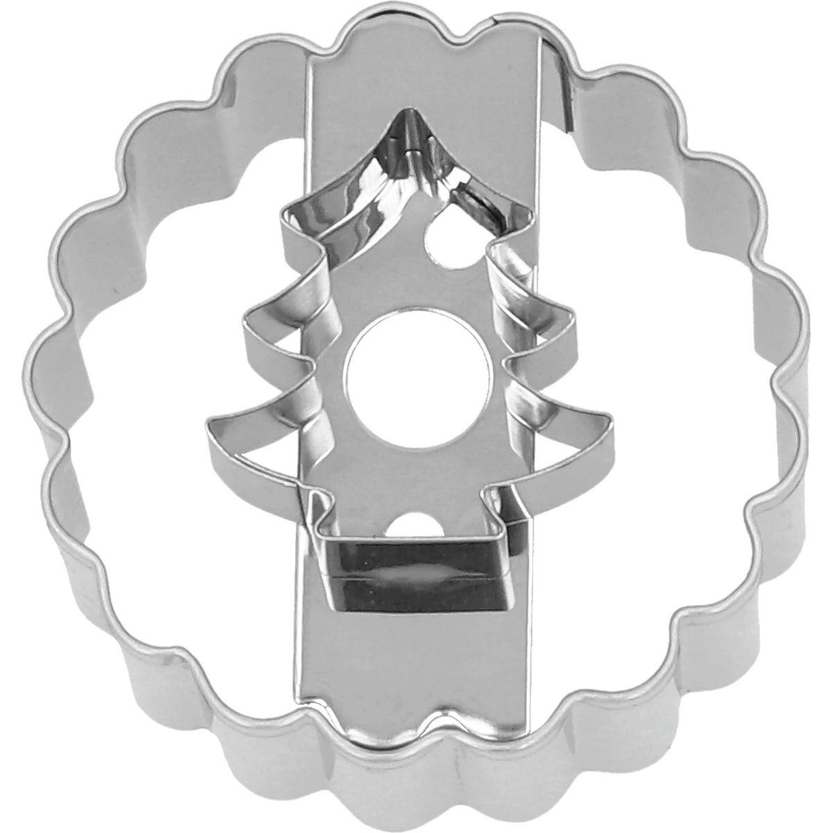 Emporte-pièce en inox pour sablé à la confiture Linzer sapin 5 cm - Birkmann