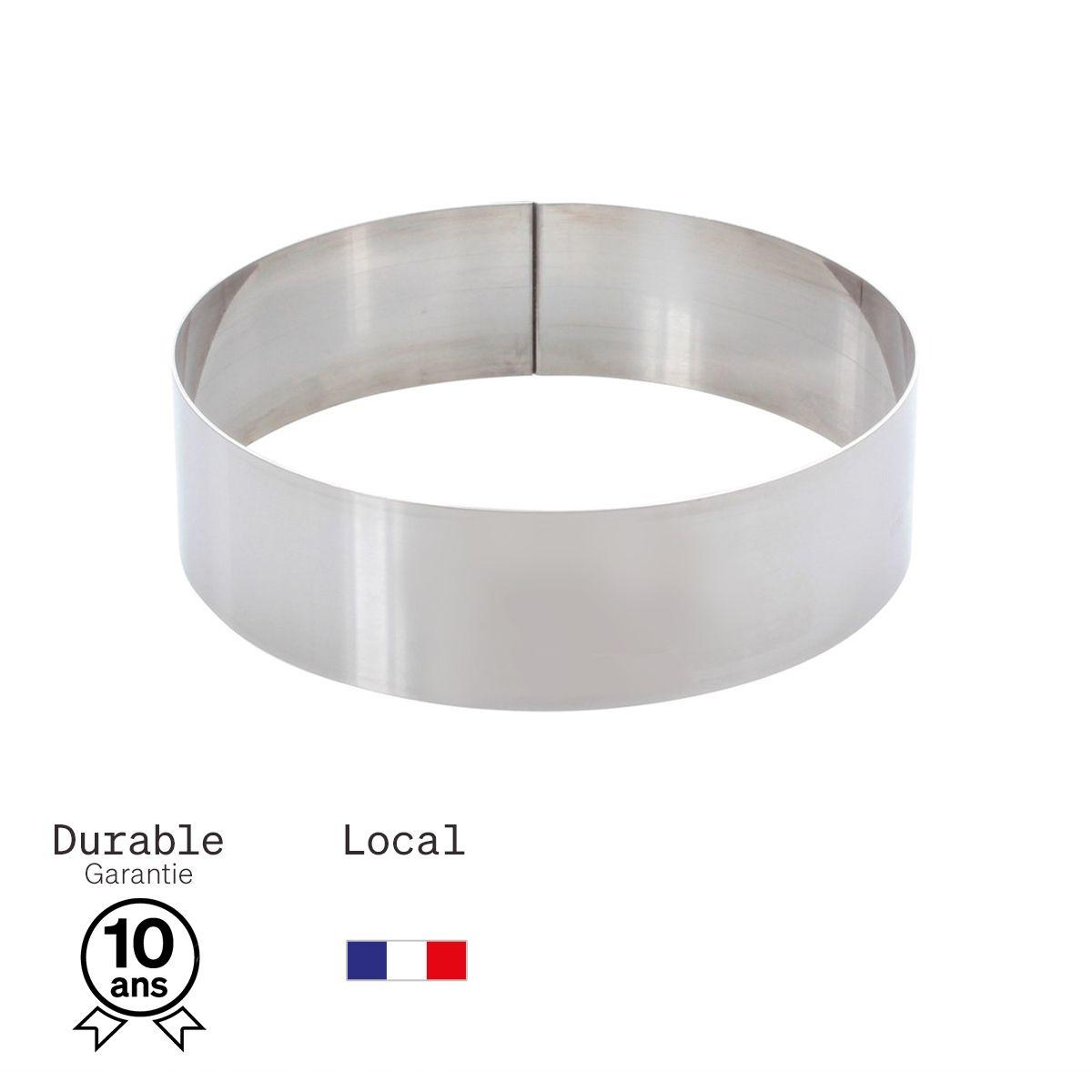 Cercle à mousse et entremet en inox 4 parts 16 cm hauteur 4.5 cm - Alice Délice