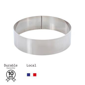 Achat en ligne Cercle à mousse et entremet en inox 4 parts 16 cm hauteur 4.5 cm - Alice Délice