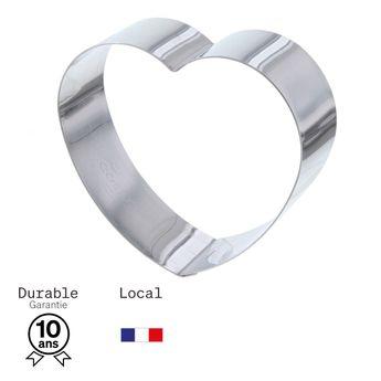 Achat en ligne Coeur à pâtisserie individuel en inox 8,5 cm hauteur 3 cm - Alice Délice