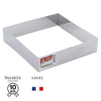 Achat en ligne Cadre à pâtisserie carré en inox 20 cm hauteur 4.5 cm - 6/8 parts  Alice Délice