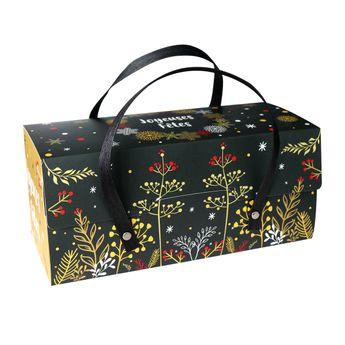 Achat en ligne Boite de transport pour bûche en carton avec poignées 11 x 11 x 30 cm - Patisdecor