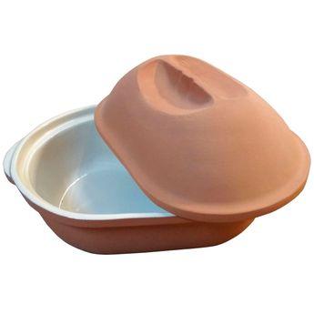 Achat en ligne Cocotte en terre cuite ovale 37.5 x 24 x 20 cm 4.2L - Baumalu