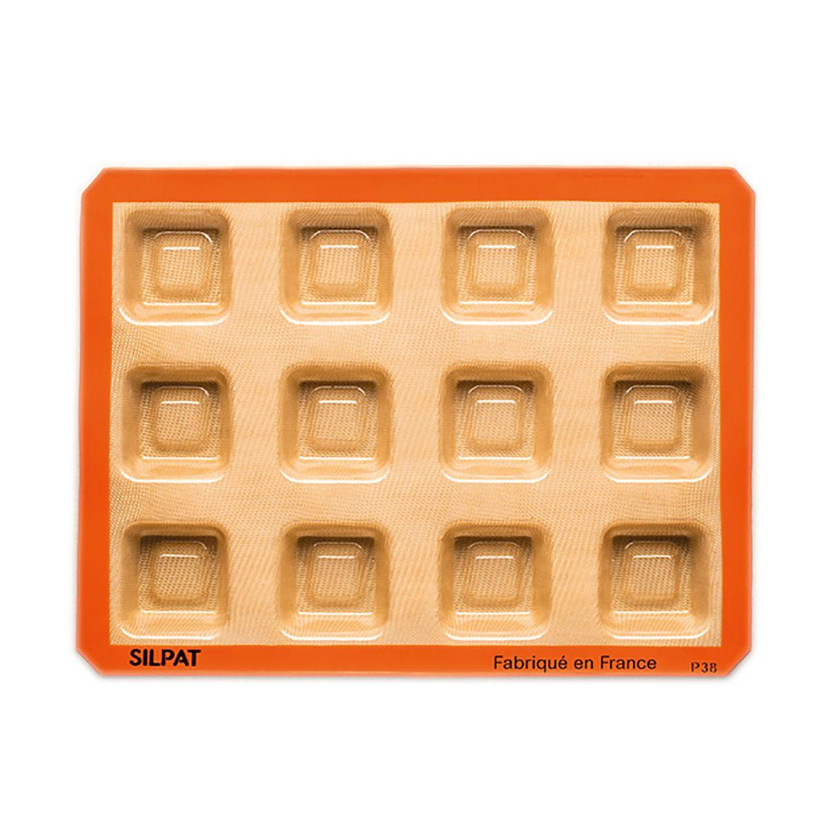 Moule 12 savarins carrés en silicone et fibre de verre 40 x 30 cm - Silpat
