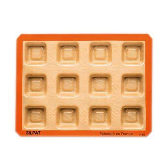 Achat en ligne Moule 12 savarins carrés en silicone et fibre de verre 40 x 30 cm - Silpat