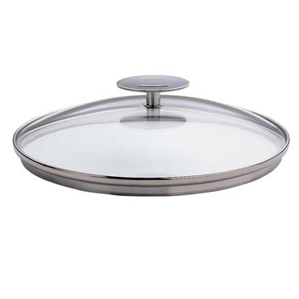 Couvercle 18cm verre platine - Cristel
